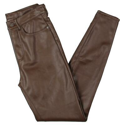 Free People Womens Brown Vegan Leather High-Rise Skinny Pants 27 BHFO 1731