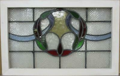 "OLD ENGLISH LEADED STAINED GLASS WINDOW TRANSOM Colorful Wreath 29.5"" x 18.75"""