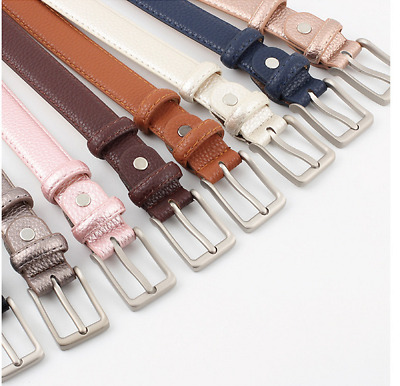 Bronze Silver Grey And Black Colorful Belts For Women With Metal Silver Buckle