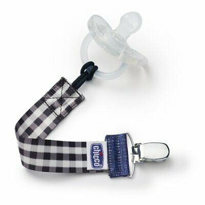 Chicco Fashion Pacifier Clip/Holder - Black Gingham