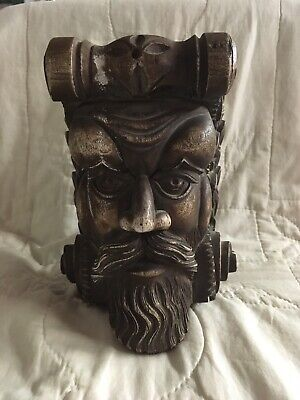 Vintage Decorative Wall Corbel Plaster Shelf Man's Face Carved Face Corbel