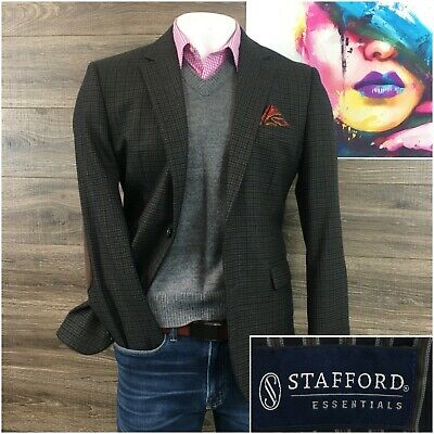 Stafford Sport Coat Mens Size 42R Elbow Patch Check Wool 2 Button Blazer Jacket