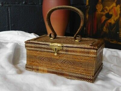 Arts & Crafts Style Antique Straw Work Jewellery Box Or Top Handle Bag