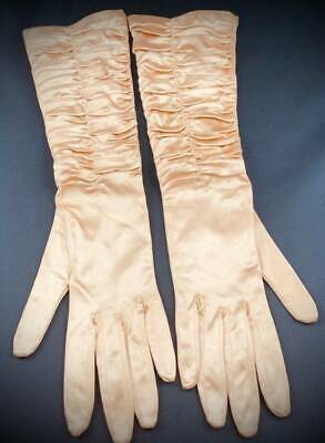 Vintage Dents Elbow Gloves Ruched Front Peach Satin Size 6.5