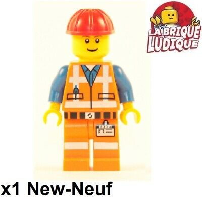 Lego Figurine Minifig city homme man ouvrier chantier worker casque ovr001 USED