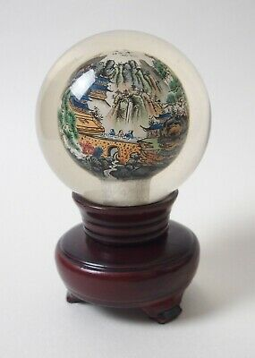 Vintage Chinese inside painted glass ball sphere on spinning wood stand - signed