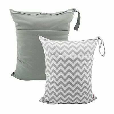 ALVABABY 2pcs Cloth Diaper Wet Dry Bags All in one grey&off-white grid