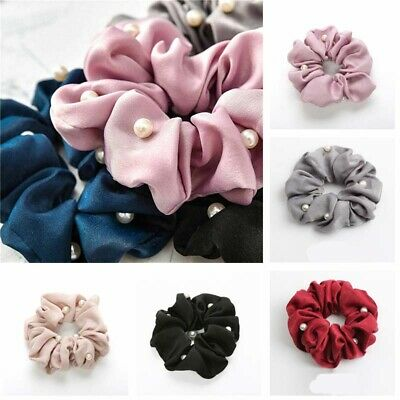 Headband Girls Silk Solid Holder Scrunchies Hair Pearls Ponytail Tie with