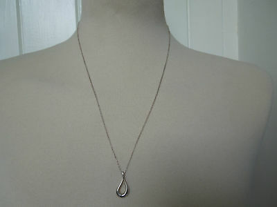 // Tiffany & Co. Sterling Silver Elsa Peretti Open Teardrop Pendant Necklace *