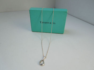 //Tiffany & Co. Sterling Silver Elsa Peretti Open Teardrop Pendant Necklace