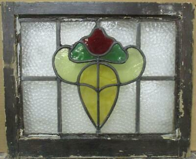"OLD ENGLISH LEADED STAINED GLASS WINDOW Pretty Abstract Design 21.75"" x 18"""