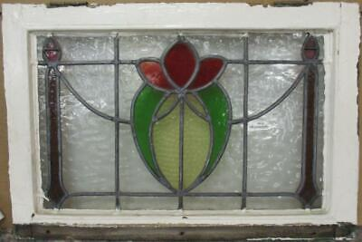 "MIDSIZE OLD ENGLISH LEADED STAINED GLASS WINDOW Floral Sweep 24.75"" x 16.75"""