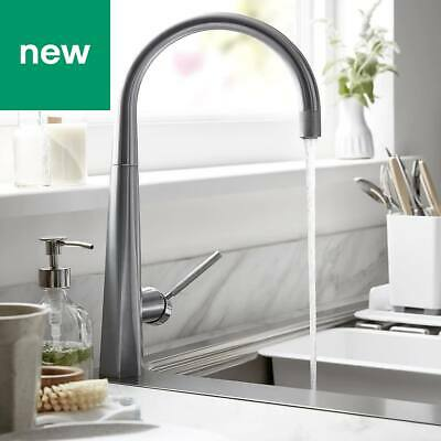 💖 GoodHome® Carya Stainless Steel Effect Kitchen Side Lever Mixer Tap