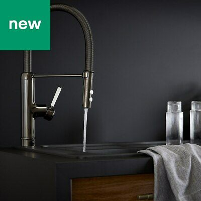 💖 GoodHome® Gevuina Black Chrome Effect Kitchen Side Lever Mixer Tap SpringNeck