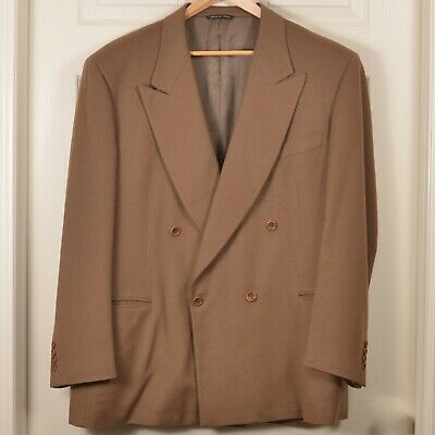 Canali 48R Wool Cashmere double Breasted Over Coat Brown Great Shape (58EU)