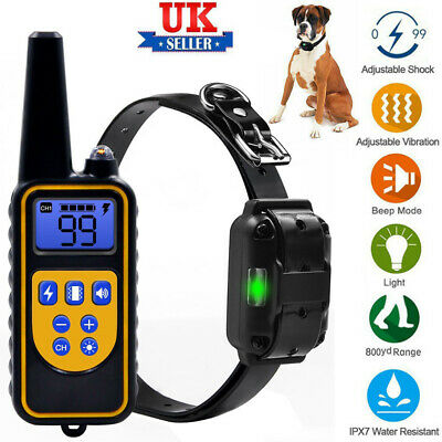 LCD Display Pet Dog Training Collar Electric Shock Waterproof Rechargeable 800m