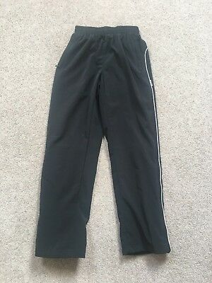 """Girls Black Lined Tracksuit Trousers With Side Zipped Legs Size 26"""" Waist"""
