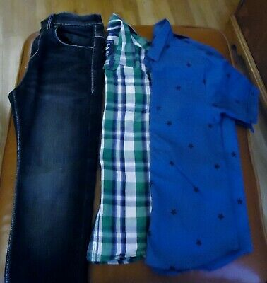 NEXT boy's straight jeans and 2 Primark short sleeve shirts bundle Age 8-9 years