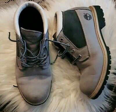 Timberland Boots Genuine Leather Grey Walking Hiking Work Laces Men's 8 Worn in