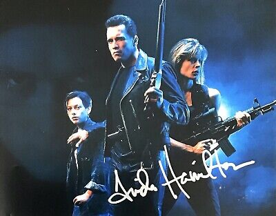 Linda Hamilton Authentic Signed 10X8 Terminator Photo Aftal#198