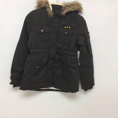 Limited Too Girls Hooded Jacket Black Flap Pockets Faux Fur Lined 14/16 New