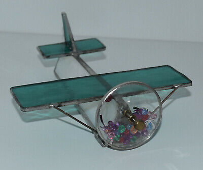 NEW VINTAGE Hand Made Kaleidoscope Leaded Stained Glass Plane Airplane
