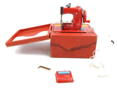 VTG 1950's Childs Red Metal Battery Operated Toy Sewing Machine Foot Pedal Japan