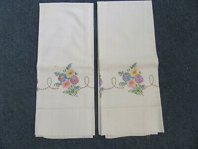 Vintage Pair Hand Embroidered Cotton Pillowcases-Blue/Pink/Yellow/Purple Flowers