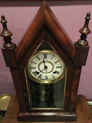 Antique Sharp Gothic Steeple 8 Day Clock by Jerome & Co New Haven USA Clock Co.