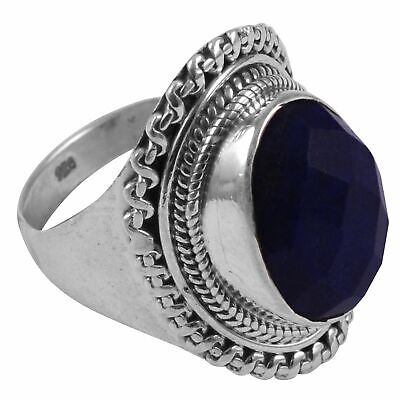 Faceted-Lapis Lazuli Solid 925 Sterling Silver Ring  Jewelry Size-7 AR-8649