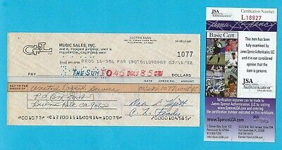 Leo Fender G&L 1982 Autographed Signed Check JSA COA Made Out To UPS