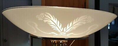 """Vintage ART DECO 18"""" Glass Torchiere Floor/ Celing Frosted Lamp Shade"""