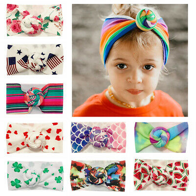 Soft Newborn Baby Headband Infant Girl Hair Band Knotted Turban Bohemia Printed