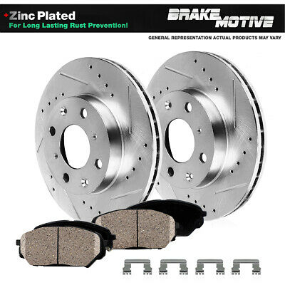 Front Drilled Slotted Brake Rotors and Ceramic Pads Fits 1989-1998 Nissan 240SX