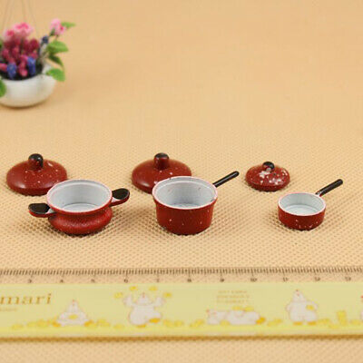 3 lot 1/12 Scale Dollhouse Cookware Furniture Metal Spotted Pan Kitchen Accs