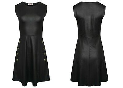 Womens Military Wet look Button Skater Swing dress Ladies Flared Sleeveless Top