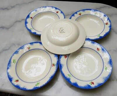 lot 5 anciennes assiettes creuses gien bagatelle style digoin mary lou