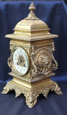 Fine Quality Antique French Brass Manet Clock Lions Mask Handles Working Order