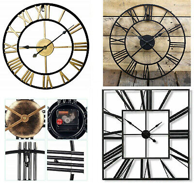 Garden Wall Clock Metal Large Skeleton Roman Numeral Home Open Face Round Clocks