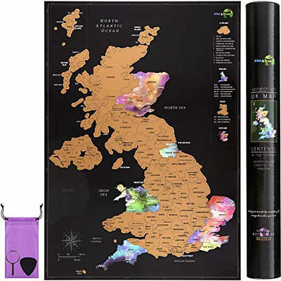 Scratch Off UK Map Poster + Accessories Kit and Gift Tube - Travel Map of the UK