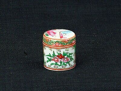 Antique Chinese Miniature Hand Painted Famille Rose Round Lidded Canister Jar Fl