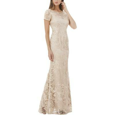 JS Collections Womens Beige Formal Embroidered Evening Dress Gown 4 BHFO 9929