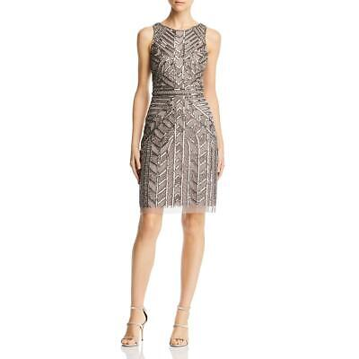 Adrianna Papell Womens Gray Beaded A-Line Cocktail Party Dress 8 BHFO 0030