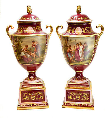Pair Royal Vienna Austria Hand Painted Porcelain Double Handled Urns, circa 1900