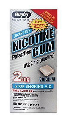 2 Paquet Rugby Nicotine Gomme sans Sucre Original 2 MG 50 Pièces Each 100 Total