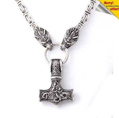 The Vikings Accessories Stainless Steel Wolf Necklace with Thor Hammer As Gift
