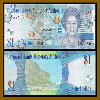 Cayman Islands 1 Dollar, 2018 P-38 Queen Elizabeth II Banknote Unc
