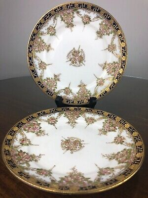 Nippon Hand Painted  Pink Floral & Gold Swastika Moriage Bread Plate Set Of 2