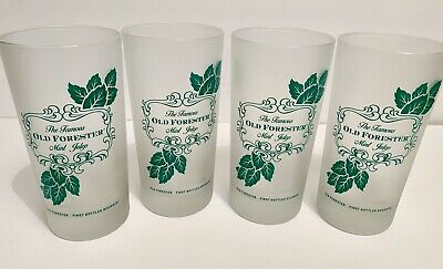 Old Forester Mint Julep Frosted Glasses Set Of 4 Kentucky Derby Bourbon Glasses