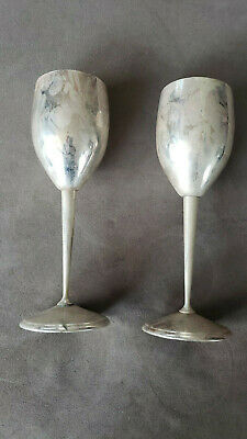 """Two Rare Vintage Tall Silverplated Wine Glasses. F.B. Rogers Spain. 8"""""""